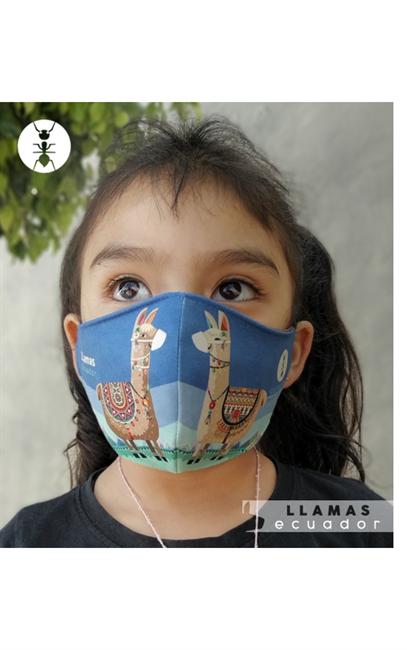 "Imagen de ""LLAMAS"" Mascarilla infantil - unisex"